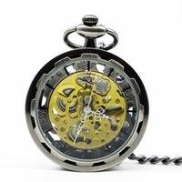 relógio de bolso esqueleto de aço inoxidável venda por atacado-Aço inoxidável moda Steampunk Skeleton Mecânica Pocket Watch Mão de enrolamento Abrir Face do relógio das mulheres dos homens com corrente PJX1222