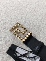 ingrosso modelli di design della cintura di cuoio-2019 Nuovo stile di alta qualità modello in pelle di rana uomini e donne cinture di moda di design doppia fibbia M di alta qualità