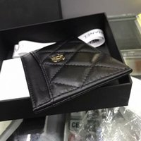 Wholesale banking case resale online - 100 Genuine Cow Leather ID Card Holder mini wallet soft leather Bank Credit Card Gift Box Multi Slot Slim Card Case