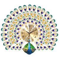 счастливые часы оптовых-Peacock Wall Clock Living Room European Creative Clock Wall Watches Household Lucky Mute Clocks Modern Decorative Charts