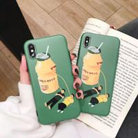 iphone claro verde al por mayor-La caja verde linda divertida del teléfono para el iPhone X, cupo la cubierta de silicona suave de goma suave brillante fina del tope TPU La mejor cubierta protectora del teléfono