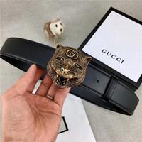 negócio de tigres venda por atacado-Homens moda casual business tiger cabeça fivela cinto largura 3.8 cm cinto sem caixa pode ser atacado