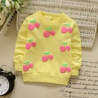 Wholesale cherry baby clothing for sale - Group buy 4 Colors Baby Girl Clothes Cherry Cartoon Cardigan Long Sleeve Coat Sweatshirt For Girls Single Row Button