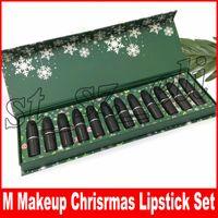 batons de 12 pcs venda por atacado-M Maquiagem Lip Collection Natal Batom Set Matte Batom 12 Cores Snow LipKit 12 pçs / set