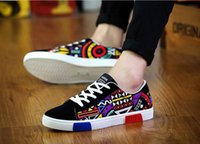 ingrosso scarpe di moda giovani-2019 Street Style casual scarpe da uomo in tela sneakers giovani studenti Hip hop appartamenti moda blu patchwork skate scarpe casual uomo taglia 39-44