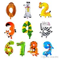 balon gemisi toptan satış-Hayvan Numarası Folyo Balon 0-9 Karikatür Numarası Çocuk Doğum Günü Dekorasyon Helyum Balonlar Düğün Parti Dekorasyon ücretsiz kargo