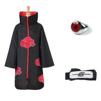 casacos naruto akatsuki venda por atacado-Anime Brasão NARUTO Cosplay Uchiha Itachi Trench Akatsuki Manto Robe Ninja conjunto de anel Headband Halloween