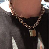 Wholesale lock chain collar resale online - 2019 Handmade Men Women Unisex Punk Chain Necklace Heavy Duty Square Lock Padlock Choker Metal Collar