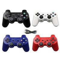 controlador de playstation bluetooth al por mayor-Controlador de juegos inalámbrico Bluetooth colorido para PS3 2.4 GHz Sony Playstation 3 Control Joystick Gamepad Remote con cargador