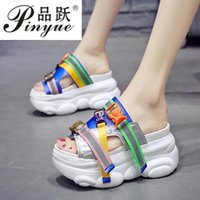 Wholesale creepers sandals for sale - Group buy New Woman Sandals Platform Wedges High Heels Slippers Creepers Causal Comfort Women Slides Flip Flops