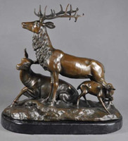 antikmessing hirsch groihandel-Arts Crafts Copper BRASS Antique Modern Brass Deer Family Sculptures Statue With Marble Base P.J.MENE Collectibles Vintage Home