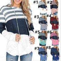 hoodies sweatshirt tops dış giyim toptan satış-Kadınlar Splice Örme Kapüşonlular Renk Maç Kapşonlu Kazak Sonbahar Çizgili Kapüşonlular Triko Moda Uzun Kollu Tişörtü Dış Giyim B82801 Tops
