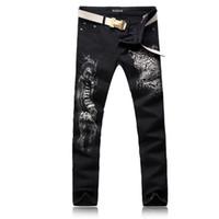 homens preto calças leopardo impressão venda por atacado-ORINERY Tamanho 28-38 Venda Quente Leopardo Impresso Skinny Jeans Homens Moda Denim Preto Calças de Alta Qualidade Mens Roupas Calças Compridas
