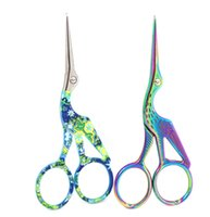 Wholesale gold noses online - Stainless Steel Crane Shape Scissors colorful Small Clipper Animal Carving Retro Gold Plated stitchwork scissors nose hair cutter FFA1762