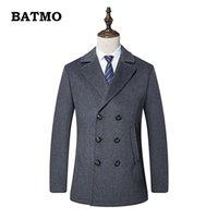 çift göğüslü trençkot ceket erkek kış toptan satış-BATMO 2018 yeni varış kış yüksek kaliteli yün thicked Kruvaze trençkot erkekler, erkek yün ceketler, artı boyutu M-3XL, AL22