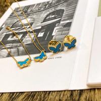 mavi altın bilezik toptan satış-Vintage Alhambra Bakır Ile 18 K Altın Kaplama Mavi Seramik Kadınlar Için Çift Kelebek Charm Kolye Bilezik Küpe Takı Seti