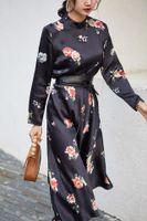 ingrosso supporto fiore nero-Mrs RG D2210 fiori neri Vintage piccolo abito da donna con cavezza rialzata