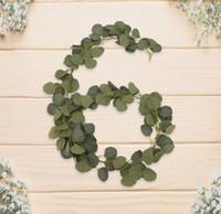 pflanze girlande großhandel-Künstliche Eukalyptusblätter Garland Faux Silk Vines Greenery Wreath 61/2 Feet Hochzeit Hintergrund Wand Home Decoration Fake Plant Vines