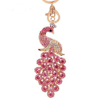 çinli elmas takıları toptan satış-Nefis Renkli Rhinestone Çin Tarzı Alaşım Tavuskuşu Kolye Anahtarlıklar Anahtarlık Tutucu Hayvan Anahtarlıklar Charm Takı Kadınlar Için