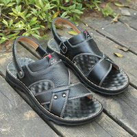 Wholesale big bottom sandals for sale - Group buy ZhengouMale big size Beach Shoes Non slip Quinquagenarian Purpose Soft Bottom Leisure Time Genuine Leather Male Sandals