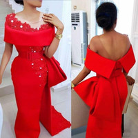 Wholesale bone pearl for sale - Group buy Modest Saudi Arabic Red Evening Dresses With Sheer Neck Bow Train Beaded Pearls Party Dress Satin Side Split African Formal Prom Gowns