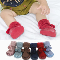 Wholesale socks balls resale online - Autumn winter plus velvet thickening Baby boys girls Floor socks Infant faux fur ball First Walkers Soft rubber sole Toddler shoes C5765