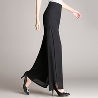 Wholesale hot new female trousers for sale - Group buy Hot Sale Summer New Female Wide Leg Pants Womens High Waist Double Layers Split Chiffon Pants Loose Black Elegant Dance Trousers Y19071701