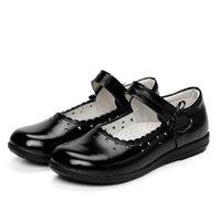 meninas sapatos de couro genuíno escola venda por atacado-Novo estilo escola dress shoes crianças preto sapatos de couro genuíno meninas princesa festa de dança shoes bebê criança