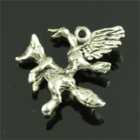 Wholesale antique fox pendant resale online - 100pcs Bird And Fox Charm Fox Charms Pendant Bird Antique Silver Charms Jewelry Making Accessories Diy x33mm