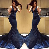 Wholesale yellow open back prom dresses resale online - Sequin Navy Blue Prom Dresses Deep V Neck Mermaid Open Back Plus Size Red Carpet Evening Gowns