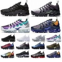 ingrosso scarpe più i formati-Nike Air Max vapormax TN plus 2019 nuove scarpe da cuscino moda uomo Sneakers TN Plus Scarpe da corsa di design traspiranti taglia 36-45 spedizione gratuita