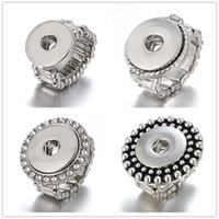 anel ajustável de 18mm venda por atacado-Mais novo 10 pçs / lote Snap Anel de ajuste de jóias 18mm Gengibre Snap Metal Anéis de Prata Botão Snap Ajustável Anel