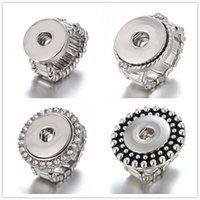 18 mm ayarlanabilir halka toptan satış-Yeni 10 adet / grup Yapış Yüzük takı fit 18mm Zencefil Yapış Metal Gümüş Yüzük Snap Düğmesi Ayarlanabilir Yüzük