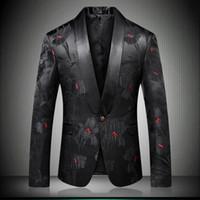 ingrosso rivestimento elegante casuale di mens casuale-Giacca da uomo elegante Blazer floreale Designer Marca Slim Fit 2018 Autunno Inverno Nuova giacca casual da uomo nera con un bottone intelligente 9008