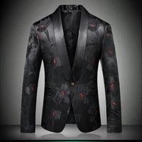 herren stiefeljacken großhandel-Herren Stylish Floral Blazer Designer Marke Slim Fit 2018 Herbst Winter Neu Smart Casual One Button Herren Schwarz Anzug Jacke 9008