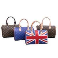 Wholesale flag bags for sale - Group buy Fashion luxury desinger England flag pattern casual lady woman leather handbag purse boston shoulder bags models