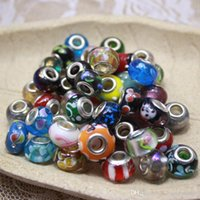 Wholesale New Mix Styles Glass silver plated big hole loose beads fit European jewelry Diy bracelet charms