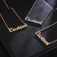 kugelklauenschmucksachen groihandel-Personalisierte benutzerdefinierte Name Anhänger Halskette Customized Cursive Typenschild Halskette für Frauen handgemachten Schmuck Geschenk
