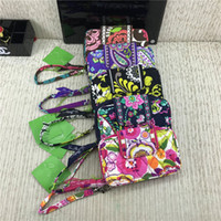 Wholesale nylon credit card wallet for sale - Group buy Brand Designer Purses VB Zip ID Case Floral Wallets with Lanyard Credit Cards Holder Slots Retro Pastoral Handbags Coin Bags Pouch C72707