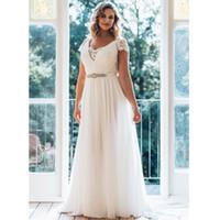Wholesale brushing tiered wedding dresses resale online - Plus Size Wedding Dresses Long V neck Short Sleeve Brush Train Illusion Waist Jewellery Summer Wedding Dress