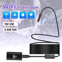 endoscópio hd wifi venda por atacado-Camera endoscópio endoscópio Inspeção iPhone Android sem fio 1m 3m 5m WiFi 1200P HD 8 milímetros Endoscope Camera Wifi Exterior USB