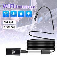 cámara endoscopio iphone al por mayor-La cámara endoscopio endoscopio Inspección iPhone Android 1m 3m 5m inalámbrico USB WiFi 1200P HD de 8 mm endoscopio Wifi de la cámara al aire libre