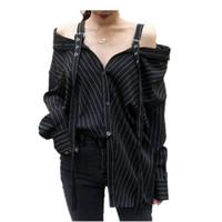 aus schulter punk shirts großhandel-Harajuku Punk Gothic Schulterfreie Bluse Tops 2019 Damen Korean Fashion Sexy Trägerlos Langarm Vertikal Gestreift Kpop Shirts