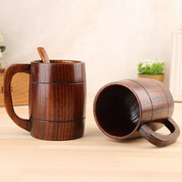 ingrosso legno tazza di caffè-400 ml classico in legno tazza di birra moda tè tazza di caffè bottiglia d'acqua resistente al calore home office drinkware TTA1797