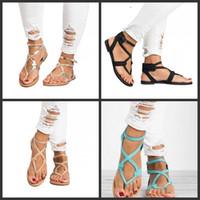 резиновые сапоги оптовых-Летняя обувь пряжка ремешок сандалии щепотка с плоским дном переплетение ленты ремешок на щиколотке эластичный дамы плюс размер мода 25dff1