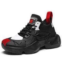 dans spor ayakkabıları erkekler toptan satış-Moda Bağbozumu Erkekler Tıknaz Sneakers Hip Hop Rahat Ayakkabı Lace Up Kalın Platformu Flats Sokak Dans Ayakkabıları Tenis Zapatos Hombre 33D50