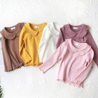 çocuklar kız peter pan yaka toptan satış-Kız Bluz Peter Pan Yaka Pamuk tişört Çocuk gömlek Bebek Bebek Katı Uzun Kollu Gömlek Kızlar Tişörtlü Çocuk Giyim Tops
