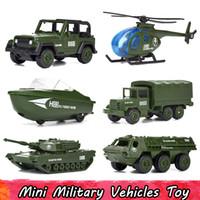 vehículos militares tanque al por mayor-6 Unids / set Mini Vehículos Militares de Aleación Juguetes de Coche Modelo para Niños Diecast Helicóptero Tanque Blindado SUV Coche Regalos para niños
