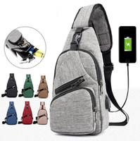 telefones grandes venda por atacado-Homens USB Saco Peito Sling bag Grande Capacidade Bolsa Crossbody Messenger Bags Bolsa de Ombro Moblie Carregador de Telefone MMA1690