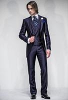 homens vestidos casamentos vestidos venda por atacado-Groomsmen casamento ternos vestido de baile casaco azul smoking para casamentos noivo desgaste jantar homens terno brilhante dsy149